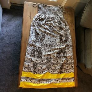 Talbots Paisley Print Ruched Silk Maxi Dress